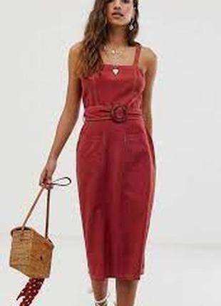 Натуральное платье миди с поясом №423max