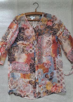 Легкая воздушная шелковая блуза накидка на купальник 100% шелк