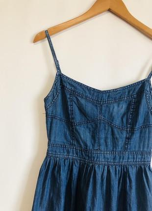 🔵летний сарафан платье джинсовое темно синее