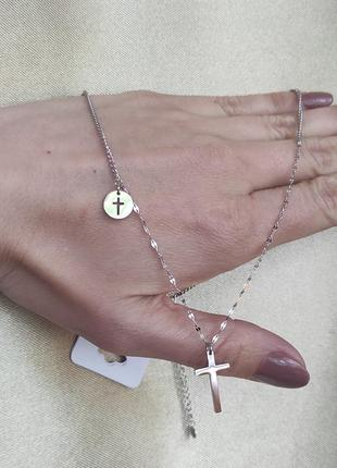 Подвеска крестик xuping сталь позолота, медсплав цепочка підвіска хрестик