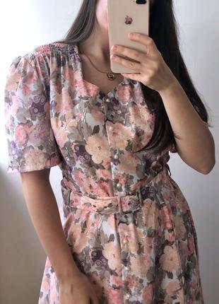 🌸 нежнейшее винтажное платье миди в цветочный принт с поясом