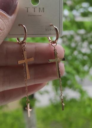 Серьги 3в1 крестики xuping сталь медзолото, позолота сережки хрестики