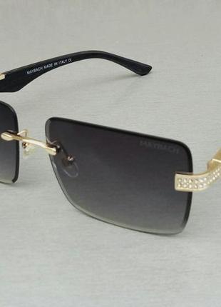 Maybach очки унисекс солнцезащитные черные с деревянными дужками градиент