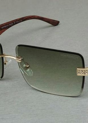 Maybach очки унисекс солнцезащитные серо зеленые с коричневыми деревянными дужками