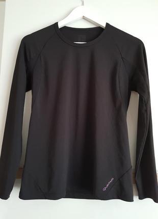 Спортивна чорна  жіноча футболка з довгим рукавом,кофта