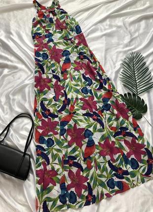 Хлопковый сарафан макси в цветах