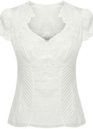 Белая ажурная блуза karen millen