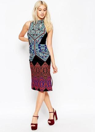 Платье миди asos по фигуре орнаменты / большая распродажа!