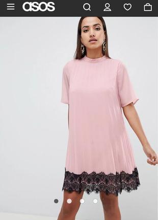 Пудровое плиссированное платье asos размер 12
