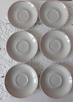 Набор блюдец, блюдечко, набор, тарелки маленькие, с ободком, винтаж, ссср