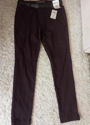 Натуральные зауженные брюки, коттон, лето, stretch slim
