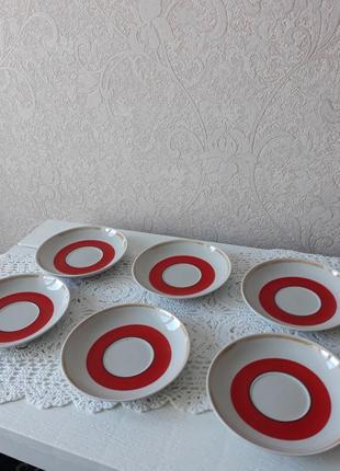 Набор блюдец, блюдечко, набор, тарелка, рисунком, дружковка, винтаж, ссср