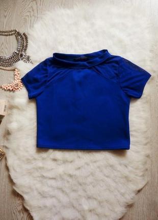 Синий кроп топ короткая блуза с сеткой по верху miso синя нарядная футболка цветной