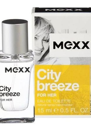 Туалетная вода mexx city breeze for her, 15 мл