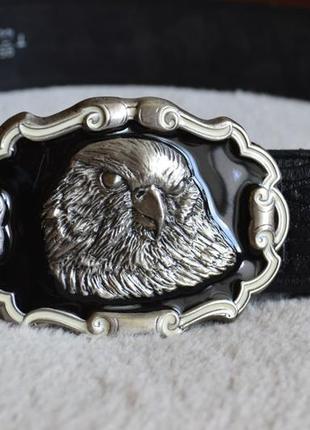Мужской кожаный ремень пряжка usa орел. натуральная кожа