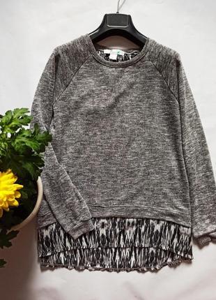 Лёгкий свитер джемпер с шифоновой спинкой