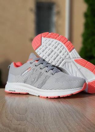 Женские кроссовки adidas neo (светло/серые с розовым)
