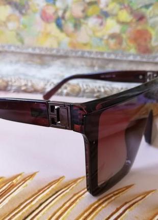 Эксклюзивные брендовые коричневые очки маска