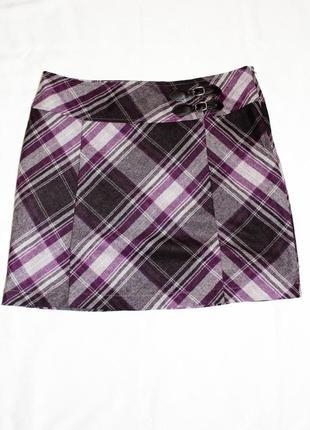 Шерстяная юбка трапеция в клетку размер46 / 18 / xxxl