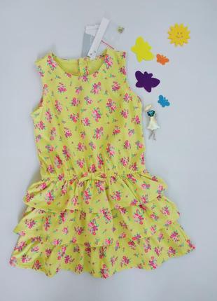 Летний желтый сарафан с рюшами,  платье с воланами  idexe италия,  86 см, на 18 месяцев