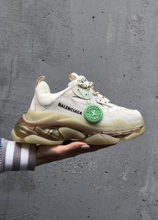 Кросівки triple s clear sole beige кроссовки