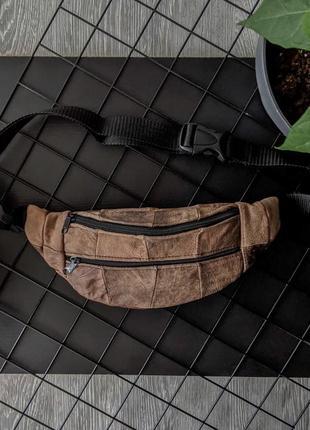 Компактная летняя бананка из натуральной кожи винтажная сумка на пояс или плече б30