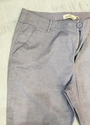 Голубые в полоску стрейчевые брюки h&m p -46/48