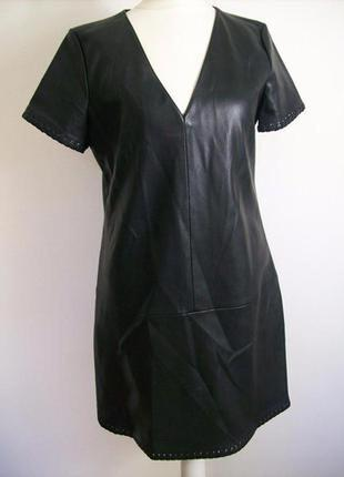 Zara black faux leather dress , кожаное платье zara trafaluc