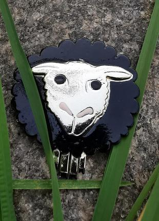Большая винтажная американская брошь брошка овечка ajc винтаж