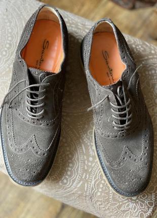 Замшевые туфли оксфорды santoni