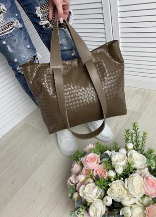 Большая женская сумка шопер плечевые ручки