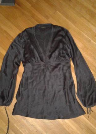 Стильная лаконичная блуза/туника linea 10 (m)р. 100%натуральный шелк