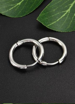 2шт 14мм крутые серьги кольцо сережки унисекс медицинская сталь
