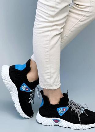 Легкие и удобные, повседневные черные кроссовки из обувного текстиля