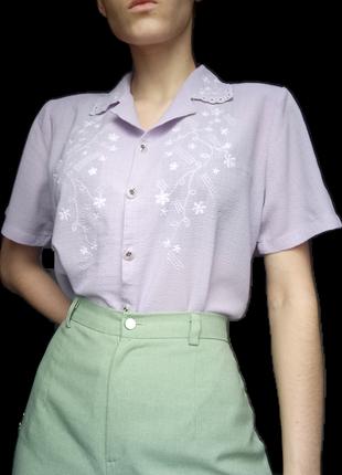 Виниажная блуза футболка дефект сиреневая лиловая вышивка