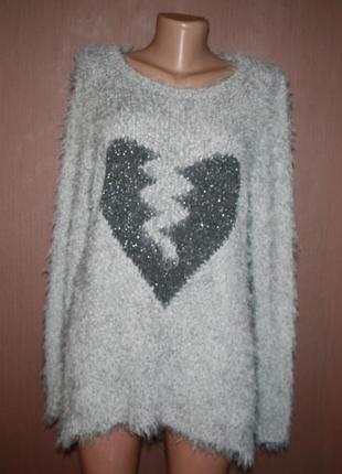 №122 стильный легкий и мягкий свитер травка с узором сердце  best connection2