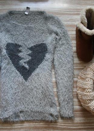 №122 стильный легкий и мягкий свитер травка с узором сердце  best connection1
