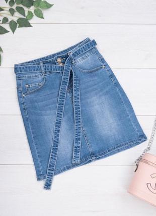 Женская джинсовая синяя юбка с поясом