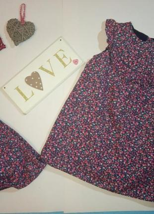 Платье и трусы трусики под памперс коттон натуральное цветочный принт