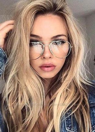 Очки окуляри авиаторы имидж имиджевые компьютерные для чтения унисекс оправа серебро новые