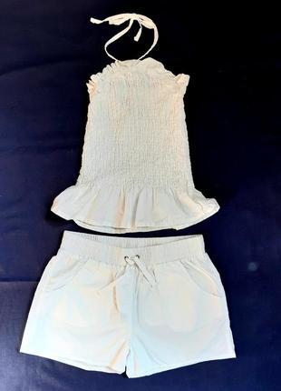 Белый хлопковый комплект топ жатка и шорты asos англия размер 36
