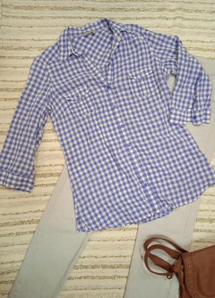 Рубашка в клетку, брендовая, хлопок.