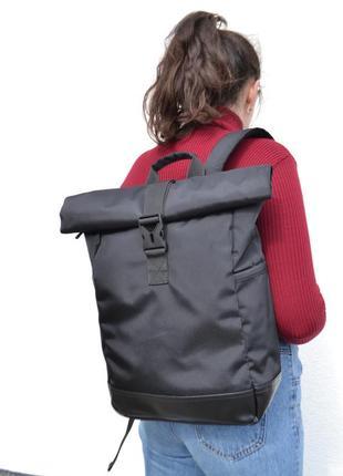 Классический рюкзак роллтоп ролтоп rolltop / дно экокожа / карман для ноутбука / унисекс