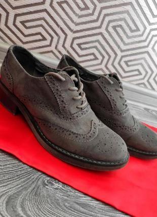 Туфли лоферы слиперы броги  натуральная замша фирменные серые