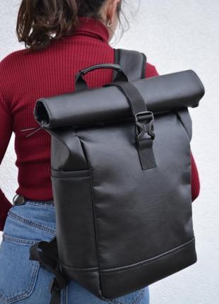 Кожаный рюкзак роллтоп ролтор rolltop / экокожа / отделение под ноутбук