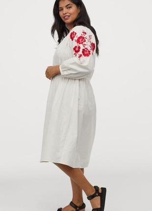 Платье вышиванка h&m в этно стиле 52-54-56