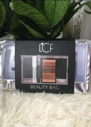 Подарочный набор для макияжа lcf beauty косметичка палетка карандаш гель )