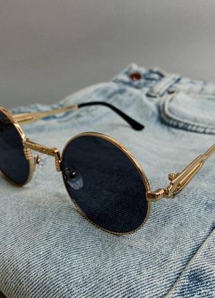 Солнцезащитные очки круглые тишейды ретро в золотой оправе круглі окуляри в золотій оправі