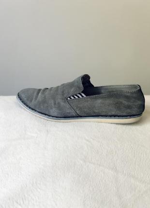 Замшевые туфли серые мужские туфлі мокасини 41