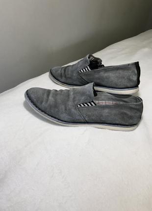 Замшевые туфли серые мужские туфлі мокасини 414 фото